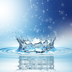 blue water splash isolated on white background.