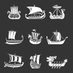 Viking ship boat drakkar icons set grey vector