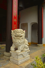 A Guardian Lion or Foo Dog at the historic Minh Huong Temple in the UNESCO listed central Vietnamese town of Hoi An