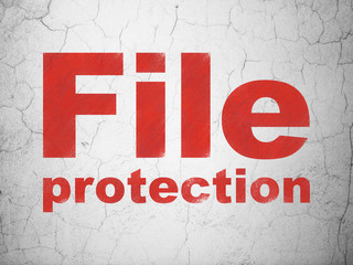 Safety concept: Red File Protection on textured concrete wall background
