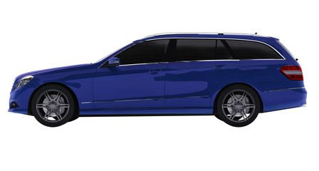 Large blue family business car with a sporty and at the same time comfortable handling. 3d rendering.