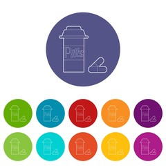 Pills in jar icons set vector color