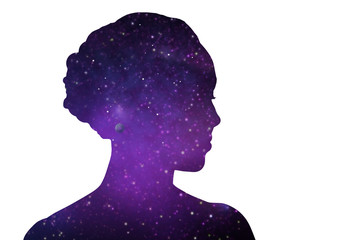 mindfulness, harmony and spirituality concept - ultra violet woman silhouette of space over white background