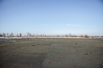 Ukraine, Lugansk - 25 february 2018: The airport runway crashed in Lugansk