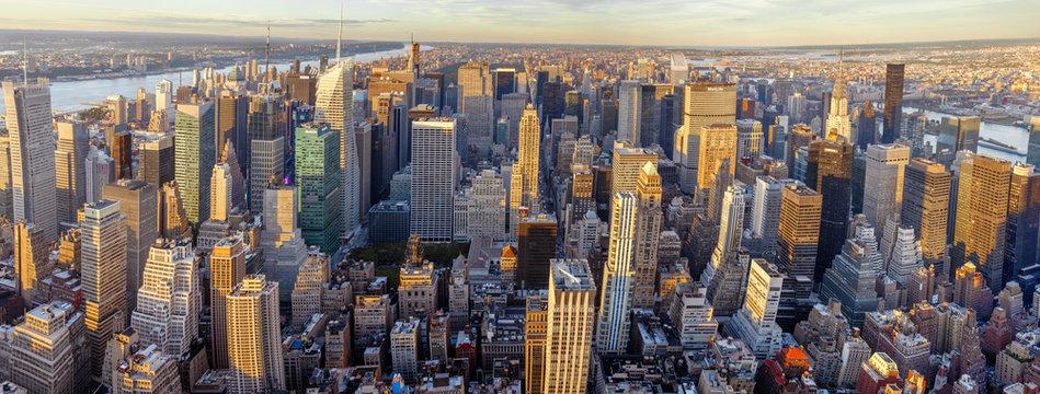 landscape of new york at sunset