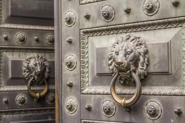 A slightly open antique metal door with a hammerhead door knocker (Приоткрытая старинная металлическая дверь с дверным молотком в виде львиной головы)