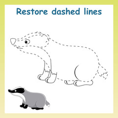 Trace game for children.Cartoon badger.  Restore dashed line and