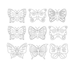 Coloring book page with 9cartoon butterfly. Vector illustration