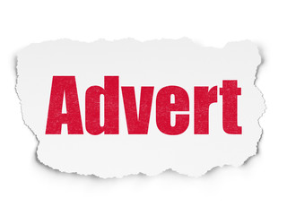 Fototapeta Advertising concept: Painted red text Advert on Torn Paper background with  Tag Cloud