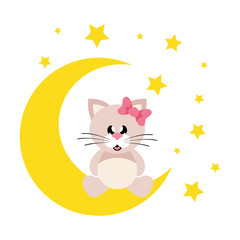 cartoon cute cat girl with bow sitting on the moon