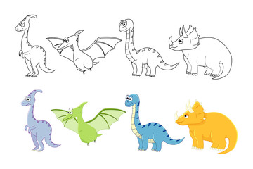 Cartoon dinosaurs set. Coloring book pages for kids.  Vector ill