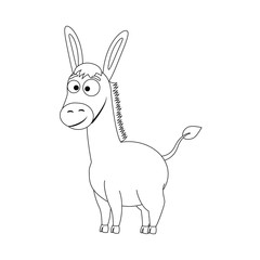 Colorless funny cartoon donkey