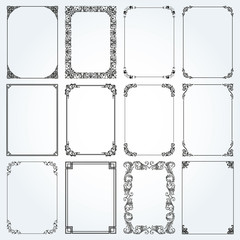 Decorative rectangle frames and borders set vector
