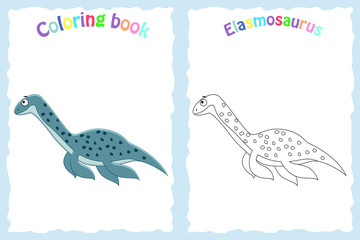 Coloring book page for preschool children with colorful elasmosa