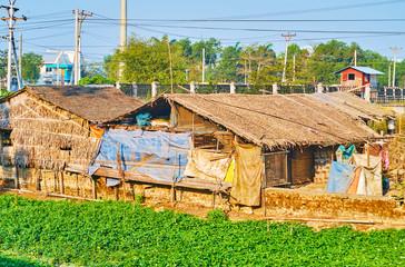 The slums in East Dagon Township, Yangon, Myanmar