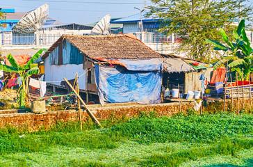 Slum neighborhoods in Yangon, Myanmar