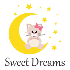 cartoon cute cat girl with bow sitting on the moon with text
