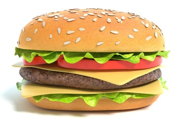 3d illustration of a cheeseburger