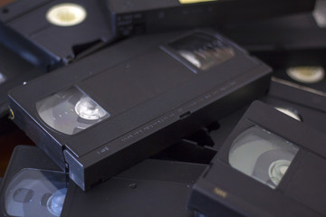 Stack of vhs cassette tapes