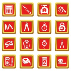 Measure precision icons set red square vector