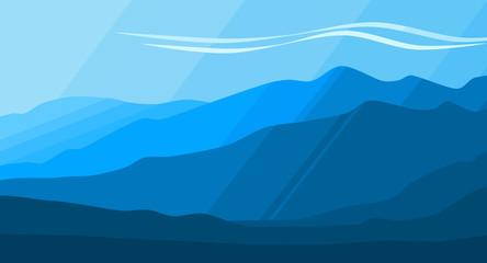 Mountain Range Background. Blue Gradient Illustration.