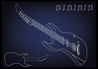 Guitar on a blue