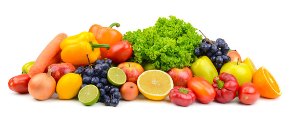 Wall Mural - Large pile ripe fruits and vegetables isolated on white for project.