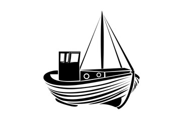 Vintage fisherman boat logo design