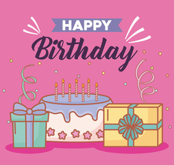 Happy birthday design with gift boxes and birthday cake over pink background, colorful design. vector illustration