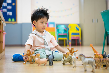 A boy is playing animal toys.