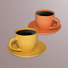 Two cups of coffee on a light background, realistic, yellow and orange cups with coffee