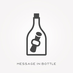 Silhouette icon message in bottle