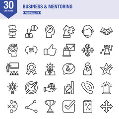 Business And Mentoring Line Icon Set