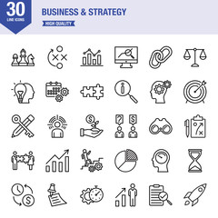 Business And Strategy Line Icon Set