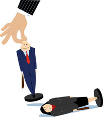 Giant managerial hand moving a male pawn employee, knocking over a female pawn, EPS 8 vector illustration