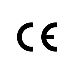 CE mark symbol. European Conformity certification mark. Vector illustration, flat design.