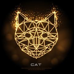 Abstract polygonal tirangle animal cat neon sign. Hipster animal illustration.