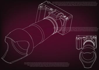 Camera on burgundy