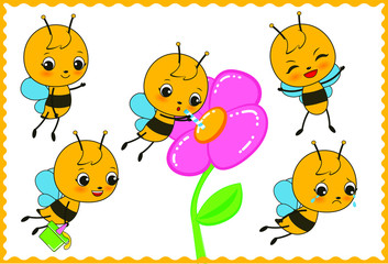 Bee mascot for kindergarten, in different positions.