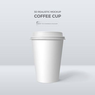 Vector 3d realistic mockup of white paper coffee cup. Template for design of packing of drink. Easy to change colour.  Isolated from the background.