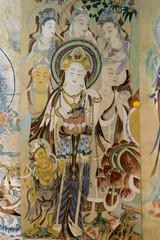 Close-up of wall mural, Dunhuang, Jiuquan, Gansu Province, China