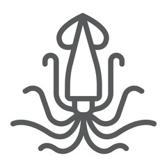 Squid line icon, animal and underwater, aquatic sign vector graphics, a linear pattern on a white background, eps 10.