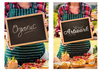 Food Vendor Holding Blackboard Mockup