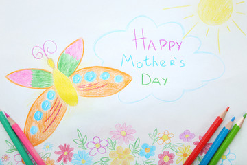 Greeting card Happy Mothers Day drawn by pencils