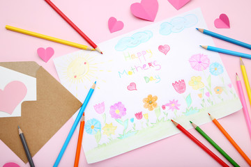 Greeting card Happy Mothers Day drawn by pencils with envelope and pink hearts