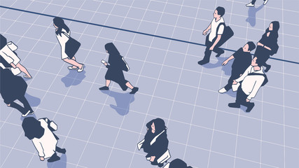 Illustration of people commuters walking in  urban public transport station platform