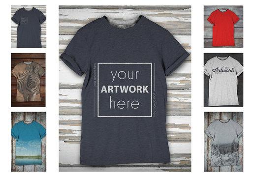 T-shirt on Distressed Wood Background Mockup