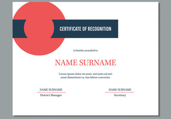 Certificate of Recognition Award Layout with Red Circle Element