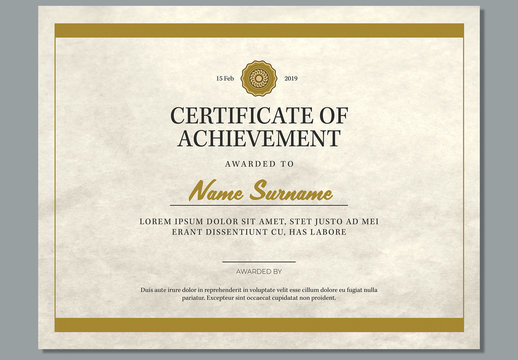 Certificate of Achievement Award Layout with Tan Accents