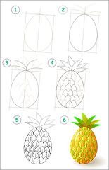 Page shows how to learn step by step to draw a pineapple. Developing children skills for drawing and coloring. Vector image.